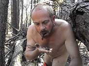 Kot essen im Wald