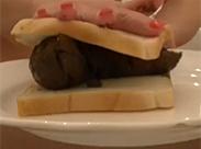 Leckeres Kackwurst Sandwich